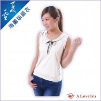 【樂福織品】夏雪 消暑涼感背心 – 女 白色尖領